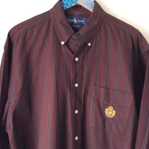 RL Polo Maroon Navy Stripe Button Down Crested L